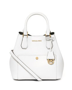 OPTIC WHITE BLACK GREENWICH LARGE BONDED SAFFIANO BAG