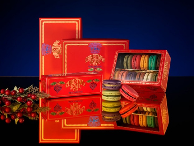 TWG Tea Christmas Jewel Tea Macarons Gift Boxes in 24,12 and 6 count