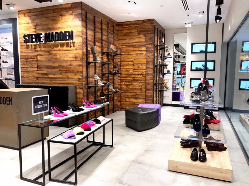 Steve Madden's newest location measures 1,163 sq. feet and will host a  variety of Steve Madden owned brands and merchandise. The boutique delivers  a funky ...