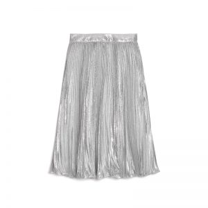 Silver-Metallic-Pleated-Skirt