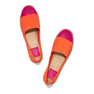 TB Color Block Flat Espadrille 47897 in Sweet Tangerine-Bright Azalea