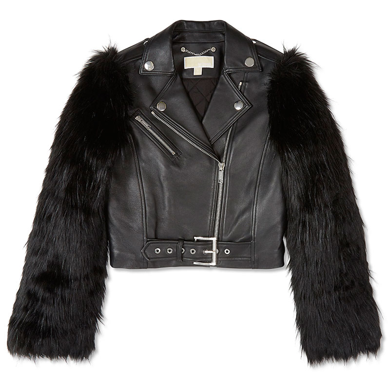 112243167775 Michael Kors Faux-Fur and Leather Moto Jacket. Buy ...
