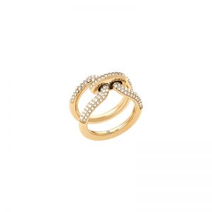 Pavé-Gold-Tone-Link-Ring