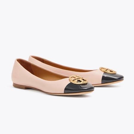 3366c3bb3d5c Tory Burch Chelsea Cap-Toe Ballet Flat (Sea Shell Pink   Perfect Navy)
