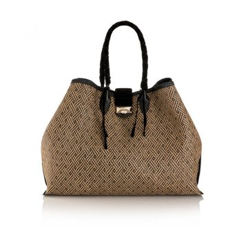 MARIANNE-SHOPPER-L---WOVEN-BRAIDED-RAFFIA,-VELVET---BLACK