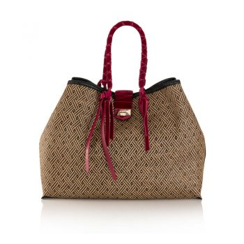 MARIANNE-SHOPPER-L---WOVEN-BRAIDED-RAFFIA,-VELVET---RASPBERRY