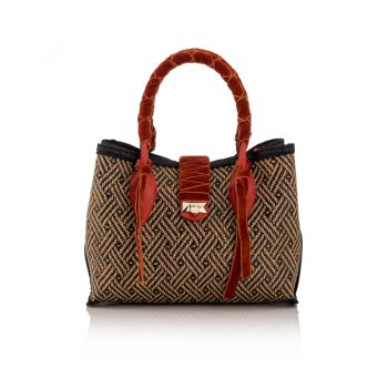 MARIANNE-SHOPPER-S---WOVEN-BRAIDED-RAFFIA,-VELVET---CHILLI