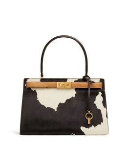 TB Lee Radziwill Calf Hair Small Satchel 55458 in Black-Natural