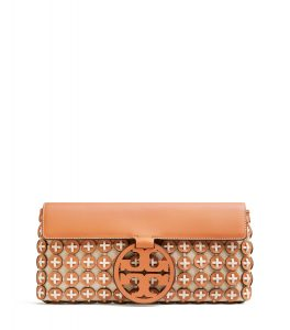 TB Miller Leather Chainmail Clutch 56244 in Camello-New Ivory