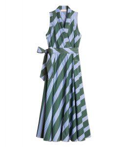 TB Overprinted Wrap Dress 56597 in Diagonal Stripe