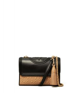 TB Fleming Color-Block Small Convertible Shoulder Bag 60964 in New Ivory-Black-Cardamom